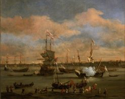 An English Merchant Ship in a Mediterranean Harbour in a Light Breeze with Other Vessels | Willem van de Velde the Younger | Oil Painting
