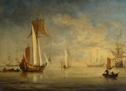 An English Royal Yacht under Sail with a Fishing Boat Laying a Net | Willem van de Velde the Younger | Oil Painting
