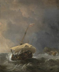 An English Ship in a Gale Trying to Claw off a Lee Shore | Willem van de Velde the Younger | Oil Painting