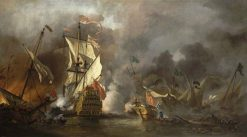 An English Ship in Action with Barbary Vessels | Willem van de Velde the Younger | Oil Painting