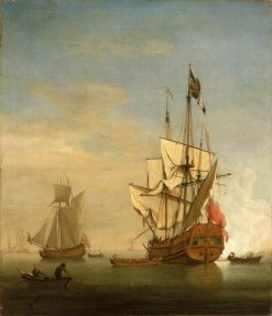 An English Sixth-Rate Ship Firing a Salute as a Barge Leaves | Willem van de Velde the Younger | Oil Painting