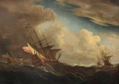 English Ships at Sea Beating Windward in a Gale | Willem van de Velde the Younger | Oil Painting
