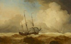 English Ships at Sea Running Before a Gale | Willem van de Velde the Younger | Oil Painting