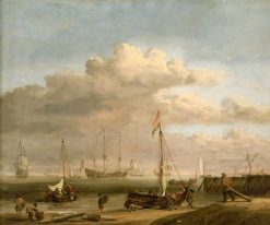 The Dutch Coast with a Weyschuit being Launched and Another Vessel Pushing off from the Shore | Willem van de Velde the Younger | Oil Painting
