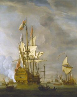 The English Ship 'Royal Sovereign' with a Royal Yacht in a Light Air | Willem van de Velde the Younger | Oil Painting