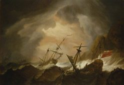 Two English Ships Wrecked in a Storm off a Rocky Coast | Willem van de Velde the Younger | Oil Painting