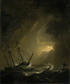 A Small Dutch Ship Riding out a Storm | Willem van de Velde the Younger | Oil Painting
