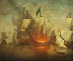 The Burning of HMS 'Royal James' at the Battle of Solebay on 28 May 1672 | Willem van de Velde the Younger | Oil Painting