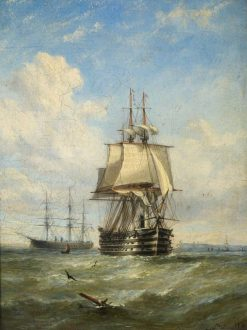 HMS 'Marlborough' and 'Minotaur' | William Adolphus Knell | Oil Painting