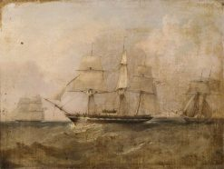 HMS 'Pearl' Capturing the 'Vengador' | William Adolphus Knell | Oil Painting