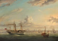 Paddle Steamer 'Superb' off Folkestone | William Adolphus Knell | Oil Painting