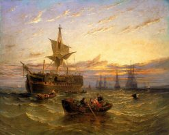 Indiaman in the Thames | William Adolphus Knell | Oil Painting
