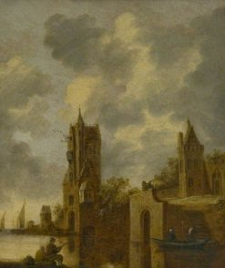A Town Wall by a River with Figures | Jan van Goyen | Oil Painting