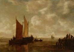 Fishing Boats off a Jetty | Simon de Vlieger | Oil Painting