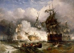 The Battle of Camperdown   William Adolphus Knell   Oil Painting