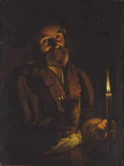 Old Man Holding a Candle and a Glass   Adam de Coster   Oil Painting