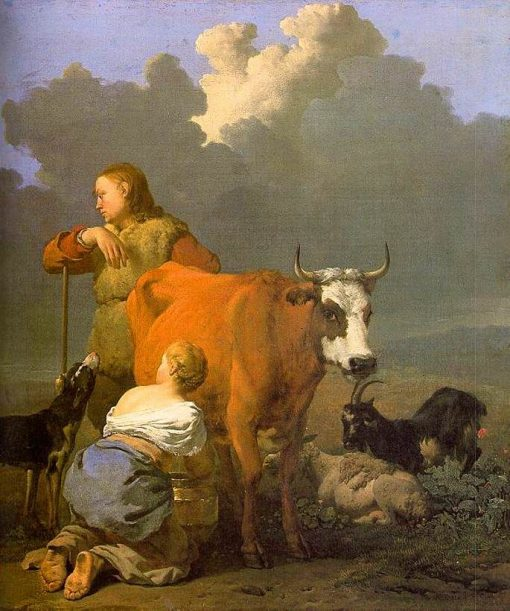 Woman Milking a Cow | Carel Dujardin | Oil Painting