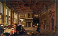 Distinguished Dinner Comapany in an Interior   Dirck van Delen   Oil Painting