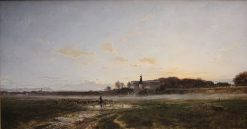 Theresienwiese Fields with the Statue of Bavaria at Dusk  | Adolf Heinrich Lier | Oil Painting
