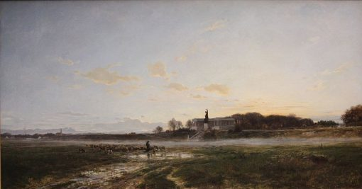 Theresienwiese Fields with the Statue of Bavaria at Dusk   Adolf Heinrich Lier   Oil Painting