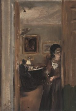 The Living Room with Menzel's Sister | Adolph von Menzel | Oil Painting