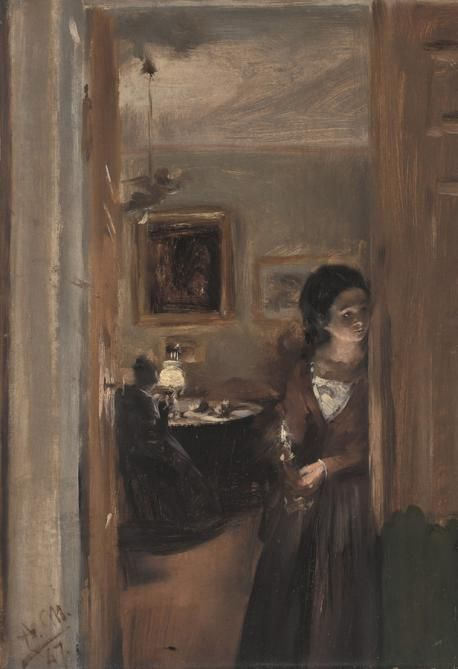 The Living Room with Menzel's Sister   Adolph von Menzel   Oil Painting
