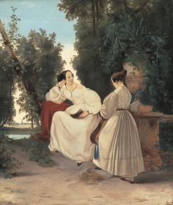 Two Ladies in a Park | Carl Blechen | Oil Painting