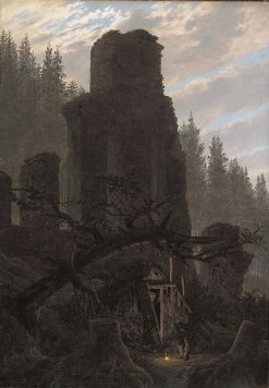 Ruins at Dusk(also known as Church Ruins in the Forest) | Caspar David Friedrich | Oil Painting