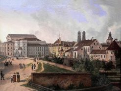 The Royal Residence in Munich from the North East in 1827 | Domenico Quaglio the Younger | Oil Painting