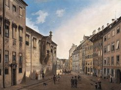Residenzstrasse Looking Towards Max-Joseph-Platz in 1826 | Domenico Quaglio the Younger | Oil Painting