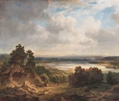 The Isarbett near Munich with a View of the Bavarian Alps   Eduard Schleich   Oil Painting