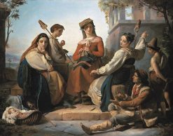 Women Spinning in Fondi | Francois Joseph Navez | Oil Painting
