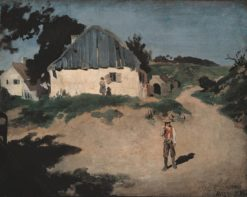 Village Street in Aresing   Franz von Lenbach   Oil Painting