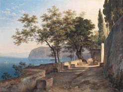 Terrace of a Capuchin Monastery in Sorrento | Heinrich Carl Reinhold | Oil Painting