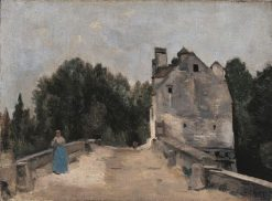 Bridge and Mill at Mantes | Jean Baptiste Camille Corot | Oil Painting