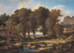 Landscape with Trees and Cows at a Pool | Johann Christian Reinhart | Oil Painting