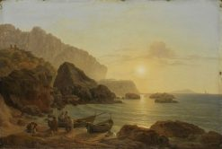 The Coast of Capri at Sunset | Joseph Rebell | Oil Painting