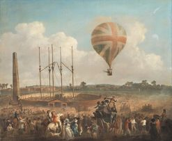 George Biggins rises in the Lunardis Balloon | Julius Caesar Ibbetson | Oil Painting