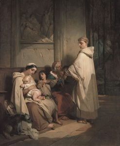 A Monk Feeding the Needy | Louis Gallait | Oil Painting