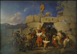 Homecoming of Italian Countrymen   Theodor Weller   Oil Painting