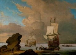 Seascape: Ships and Boats in a Calm off a Rocky Shore | Willem van de Velde the Younger | Oil Painting