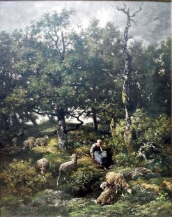 Shepherdess with Flock | Charles Emile Jacque | Oil Painting