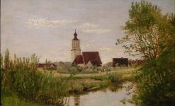 Landscape with Church | Franz von Lenbach | Oil Painting