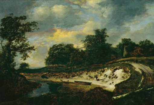 Landscape with a Riverbed   Jacob van Ruisdael   Oil Painting