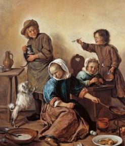 Kitchen Scene with Maid and Children | Jan Havicksz. Steen | Oil Painting