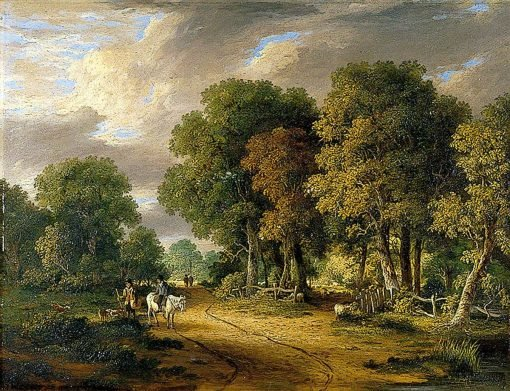 A View through Trees with a Horseman and Other Figures