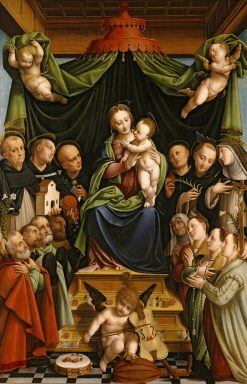 Madonna and Child Enthroned with Saints and Donors | Bernardino Lanino | Oil Painting