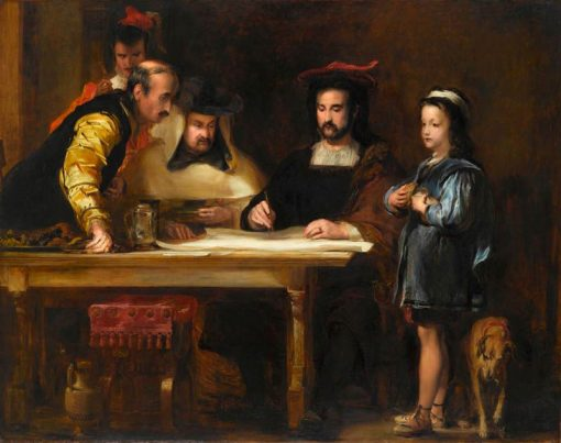 Christopher Columbus in the Convent of La Rabida Explaining His Intended Voyage | David Wilkie | Oil Painting