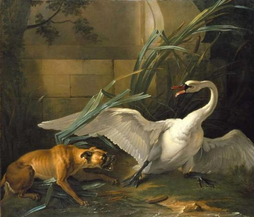Swan Attacked by a Dog | Jean Baptiste Oudry | Oil Painting