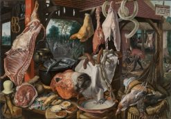 A Meat Stall with the Holy Family Giving Alms | Pieter Aertsen | Oil Painting